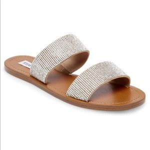 Steve Madden rhinestone slip on sandals!